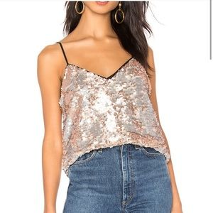 1. State Sequin Camisole tank silver and gold